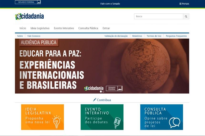 Página inicial do Portal e-Cidadania, onde se destacam as três formas de participação
