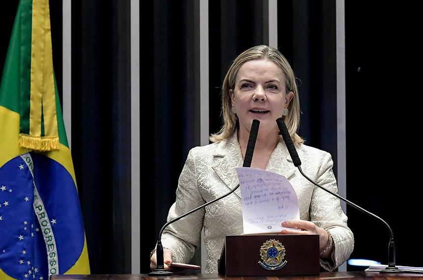 Plenário do Senado Federal durante sessão deliberativa ordinária.   Em discurso, à tribuna, senadora Gleisi Hoffmann (PT-PR).  Foto: Waldemir Barreto/Agência Senado