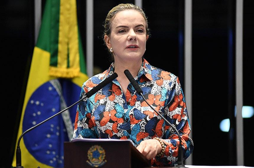 Plenário do Senado Federal durante sessão não deliberativa.   À tribuna em discurso, senadora Gleisi Hoffmann (PT-PR).  Foto: Jefferson Rudy/Agência Senado