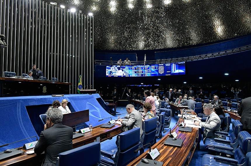 Plenário do Senado Federal durante sessão deliberativa ordinária. Ordem do dia.  À mesa, presidente do Senado, senador Eunício Oliveira (MDB-CE), conduz sessão.   Foto: Waldemir Barreto/Agência Senado