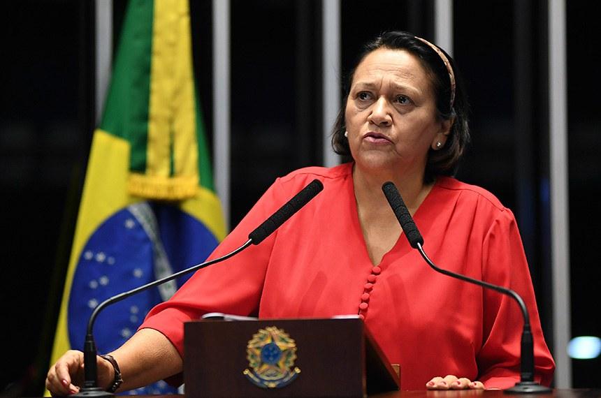 Plenário do Senado Federal durante sessão deliberativa ordinária.   À tribuna em discurso, senadora Fátima Bezerra (PT-RN).  Foto: Jefferson Rudy/Agência Senado
