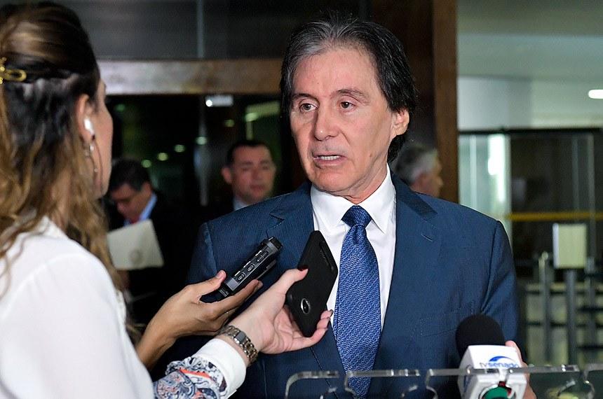 Presidente do Senado, senador Eunício Oliveira (MDB-CE), concede entrevista.  Foto: Marcos Brandão/Senado Federal