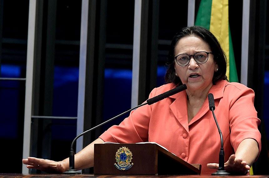 Plenário do Senado Federal durante sessão não deliberativa.   Em discurso, senadora Fátima Bezerra (PT-RN) .  Foto: Waldemir Barreto/Agência Senado