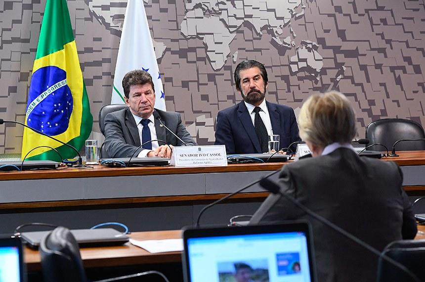 Comissão de Agricultura e Reforma Agrária (CRA) realiza reunião para apresentação do relatório de atividades no biênio 2017/2018.   Mesa:  presidente da CRA, senador Ivo Cassol (PP-RO);  vice-presidente da CRA, senador Valdir Raupp (MDB-RO);   Bancada:  senadora Ana Amélia (PP-RS).  Foto: Marcos Oliveira/Agência Senado