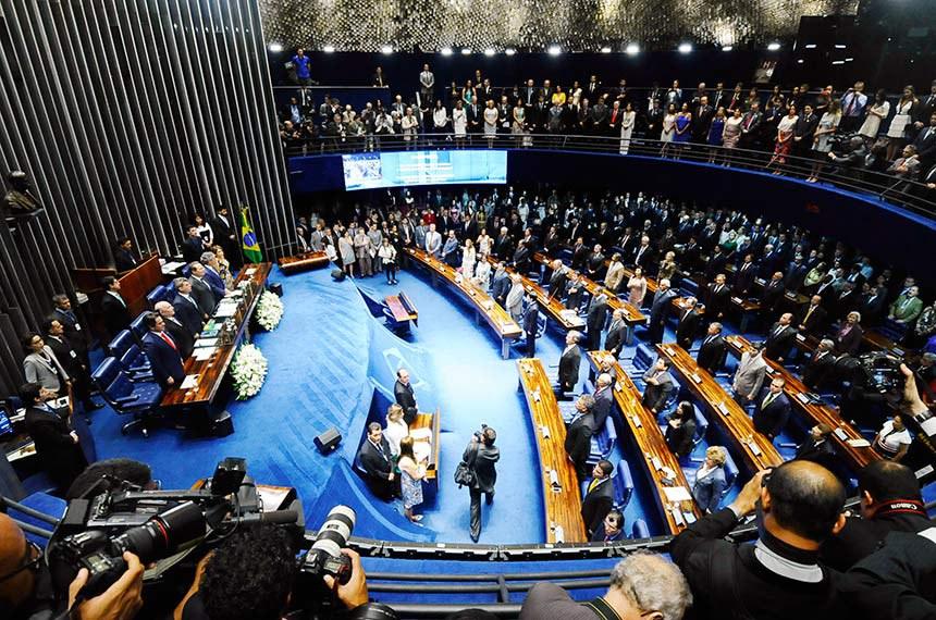 Solenidade de posse dos senadores durante primeira reunião preparatória para 55ª Legislatura.   Mesa (E/D):  senador Ciro Nogueira (PP-PI);  senador Flexa Ribeiro (PSDB-PA);  senador Romero Jucá (PMDB-RR);  senador Renan Calheiros (PMDB-AL);  senador Jorge Viana (PT-AC);  senadora Ângela Portela (PT-RR)