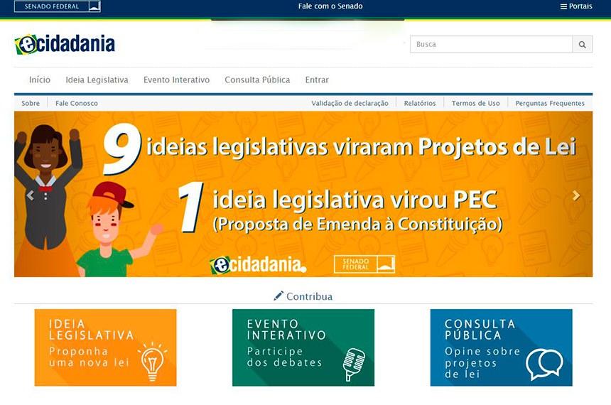 Página do Portal e-Cidadania em 17 de janeiro de 2019.