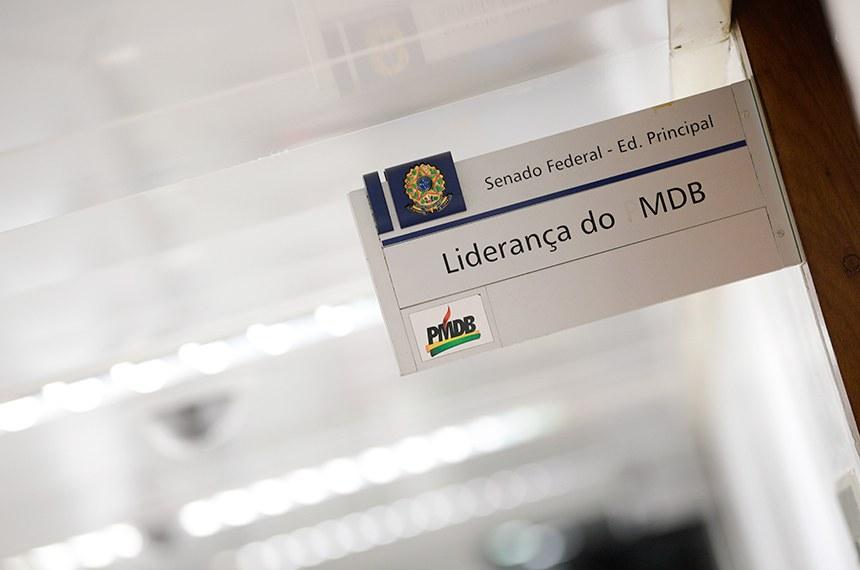 Imagens do Senado Federal - Placa de identificação: Liderança do MDB - Anexo I - Ed. Principal - Senado Federal.   Foto: Pedro França/Agência Senado