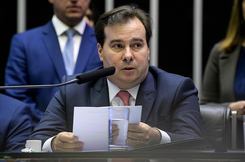 O presidente da Câmara dos Deputados, Rodrigo Maia, discursa durante a abertura dos trabalhos legislativos de 2019