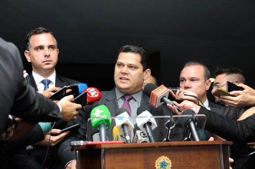 Presidente do Senado, senador Davi Alcolumbre (DEM-AP) concede entrevista.  Foto: Jonas Pereira/Agência Senado