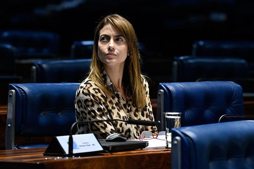 Plenário do Senado Federal durante sessão não deliberativa.   À bancada, senadora Soraya Thronicke (PSL-MS).  Foto: Pedro França/Agência Senado