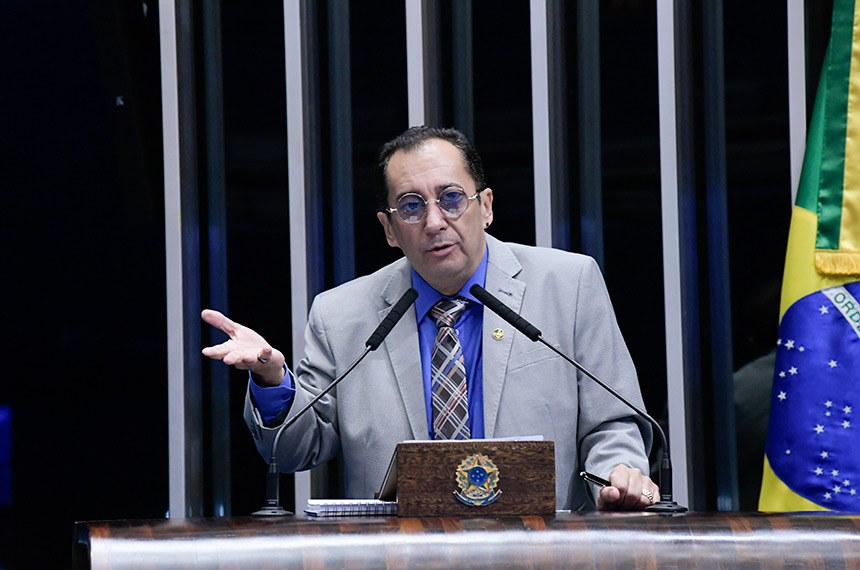 Plenário do Senado Federal durante sessão deliberativa ordinária. Ordem do dia.  Em discurso, à tribuna, senador Jorge Kajuru (PSB-GO).  Foto: Roque de Sá/Agência Senado