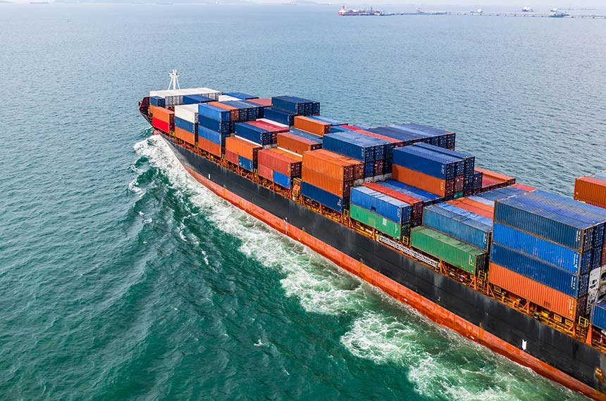Aerial view cargo container ship sailing, container cargo ship in import export and business logistic and transportation of international by container ship in the open sea.  -----------  Navio de carga, importação e exportação, leva containers