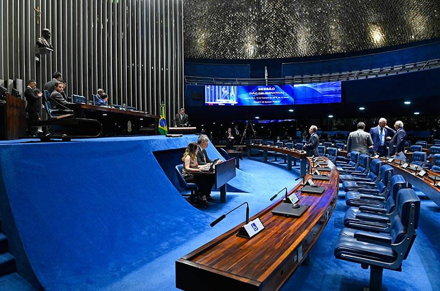 Plenário do Senado Federal durante sessão não deliberativa.   Senador Jorge Kajuru (PSB-GO) à mesa preside sessão.  Em discurso, à tribuna, senador Lucas Barreto (PSD-AP).  Foto: Roque de Sá/Agência Senado