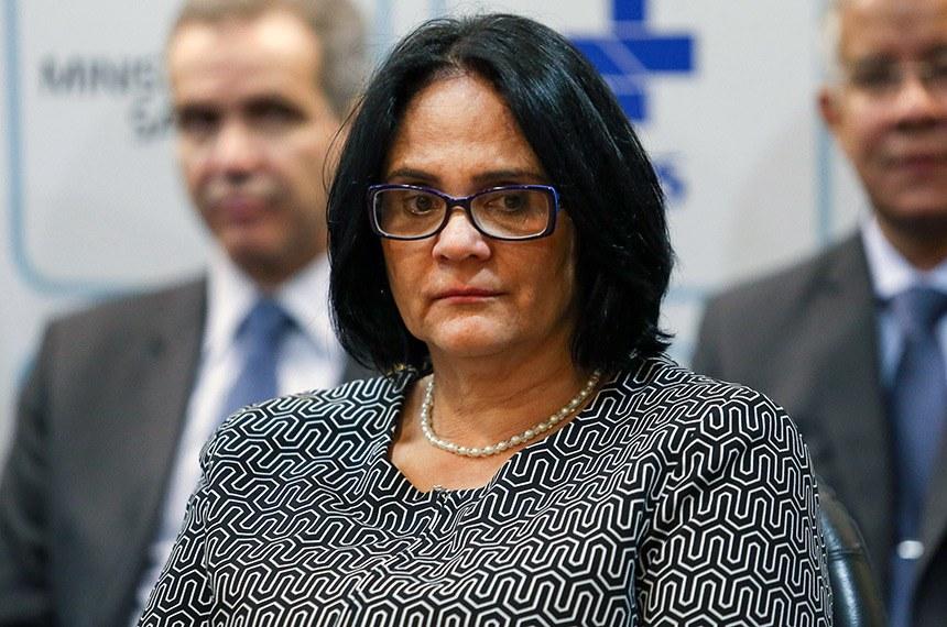 A ministra da Mulher, Família e Direitos Humanos, Damares Alves, participa da solenidade de transmissão de cargo do novo ministro da Saúde, Luiz Henrique Mandetta.