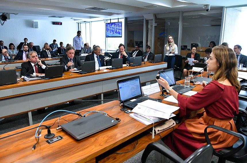Comissão de Agricultura e Reforma Agrária (CRA) realiza reunião. 1ª parte votação de 4 requerimentos. 2ª parte: Reunião para definir as estratégias e diretrizes da CRA, bem como, selecionar a Política Pública, desenvolvida no âmbito do Poder Executivo, que será avaliada pela CRA no ano de 2019.  Em pronunciamento, à mesa, preidente da CRA, senadora Soraya Thronicke (PSL-MS).  Foto: Geraldo Magela/Agência Senado