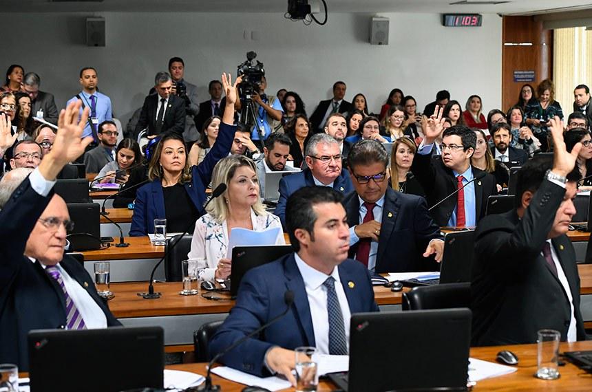 Comissão de Constituição, Justiça e Cidadania (CCJ) realiza reunião deliberativa com 11 itens na pauta. Entre eles, o PLS 128/2018, que cria o inquérito policial eletrônico.  Participam: senador Angelo Coronel (PSD-BA); senador Carlos Viana (PSD-MG);  senador Lasier Martins (Pode-RS); senador Marcos Rogério (DEM-RO); senador Nelsinho Trad (PSD-MS); senador Randolfe Rodrigues (Rede-AP); senadora Leila Barros (PSB-DF); senadora Selma Arruda (PSL-MT).  Foto: Marcos Oliveira/Agência Senado