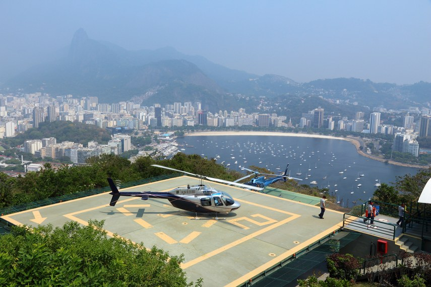 People visit helicopter flightseeing heliport in Rio de Janeiro. In 2013 1.6 million international tourists visited Rio.