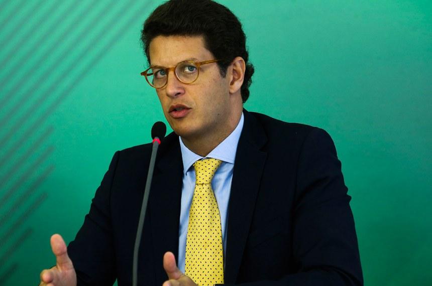 O ministro do Meio Ambiente, Ricardo Salles, durante coletiva sobre o acidente da barragem da Vale em Brumadinho, Minas Gerais.