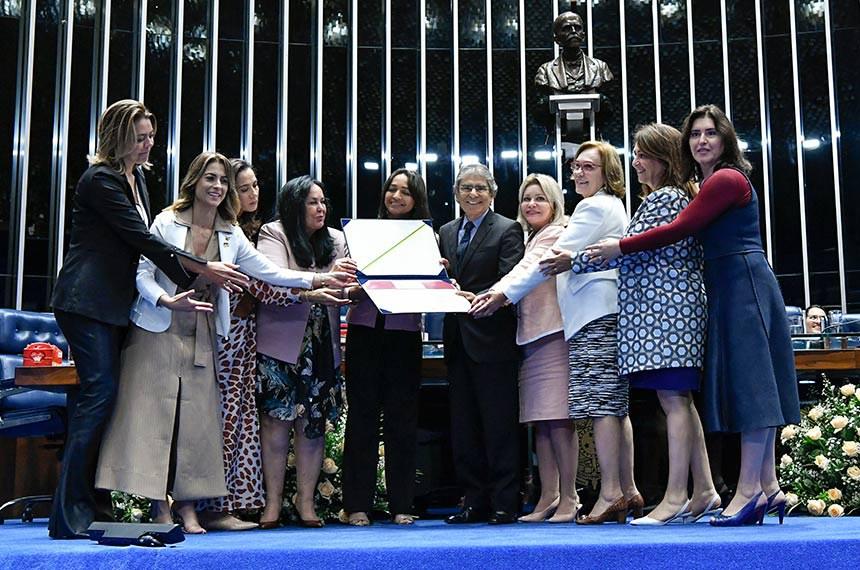 Plenário do Senado Federal durante sessão solene do Congresso Nacional destinada  à entrega do Diploma Bertha Lutz em sua 18ª premiação.   As senadoras homenageiam o agraciado, ex-ministro e jurista Carlos Ayres Britto.  Participam: senadora Kátia Abreu (PDT-TO);   senadora Mailza Gomes (PP-AC);  senadora Soraya Thronicke (PSL-MS); senadora Leila Barros (PSB-DF); senadora Eliziane Gama (PPS-MA);  senadora Rose de Freitas (Pode-ES); senadora Simone Tebet (MDB-MS); senadora Zenaide Maia (Pros-RN);  senadora Selma Arruda (PSL-MT).  Foto: Geraldo Magela/Agência Senado