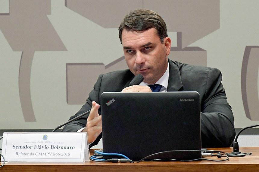 Comissão Mista da Medida Provisória nº 866, de 2018: Cria empresa pública NAV Brasil Serviços de Navegação Aérea: apreciação do relatório.  Em destaque, relator da CMMPV 866/2018, senador Flávio Bolsonaro (PSL-RJ).  Foto: Waldemir Barreto/Agência Senado