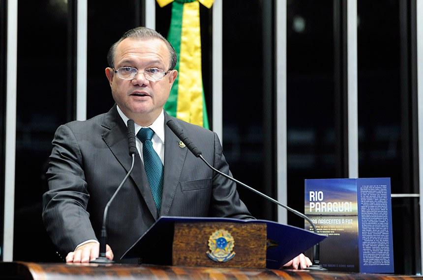 Plenário do Senado Federal durante sessão não deliberativa.   Em discurso, à tribuna, senador Wellington Fagundes (PR-MT).  Foto: Roque de Sá/Agência Senado