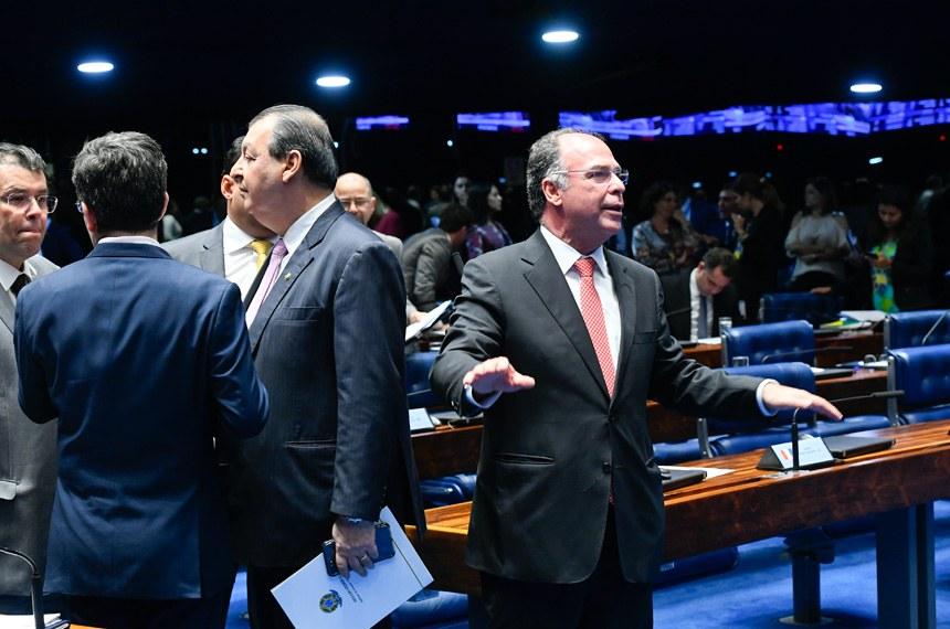 Plenário do Senado Federal durante sessão deliberativa ordinária. Ordem do dia.  Em pronunciamento, à bancada, senador Fernando Bezerra Coelho (MDB-PE).  Foto: Marcos Oliveira/Agência Senado