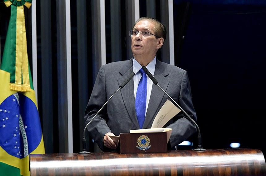 Plenário do Senado Federal durante sessão deliberativa ordinária.   Em discurso, à tribuna, senador Jader Barbalho (MDB-PA).  Foto: Waldemir Barreto/Agência Senado