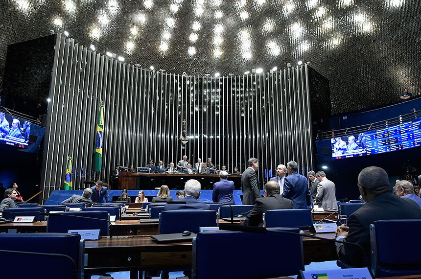 Plenário do Senado Federal durante sessão deliberativa ordinária. Ordem do dia.  Mesa: senador Major Olimpio (PSL-SP); senador Tasso Jereissati (PSDB-CE); senador Roberto Rocha (PSDB-MA); presidente do Senado, senador Davi Alcolumbre (DEM-AP); senador Nelsinho Trad (PSD-MS); senador Vanderlan Cardoso (PP-GO).  Foto: Waldemir Barreto/Agência Senado