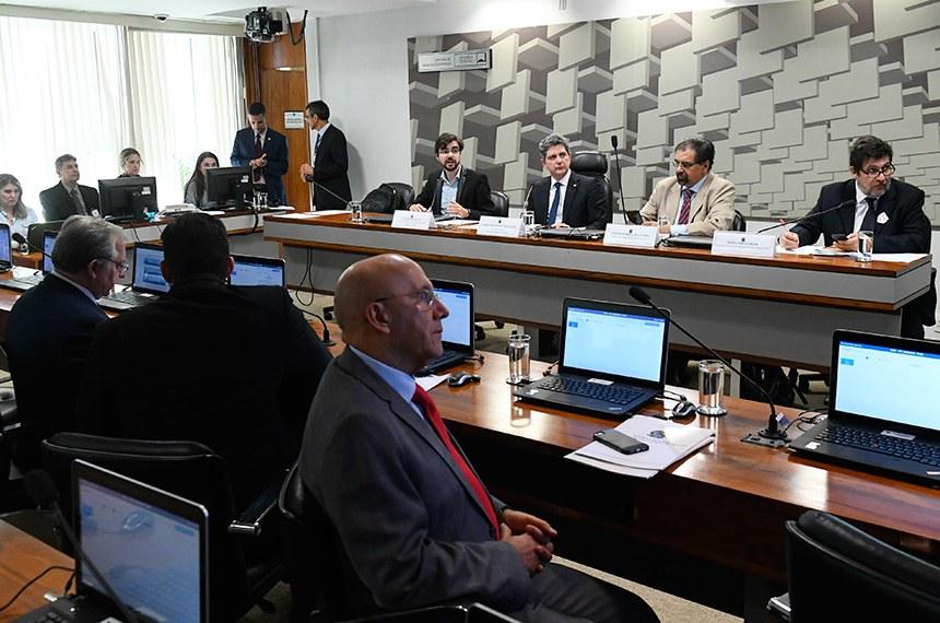 O senador Rogério Carvalho (2º à esq., à mesa) comanda o debate na CAE. À bancada, em primeiro plano, o senador Confúcio Moura