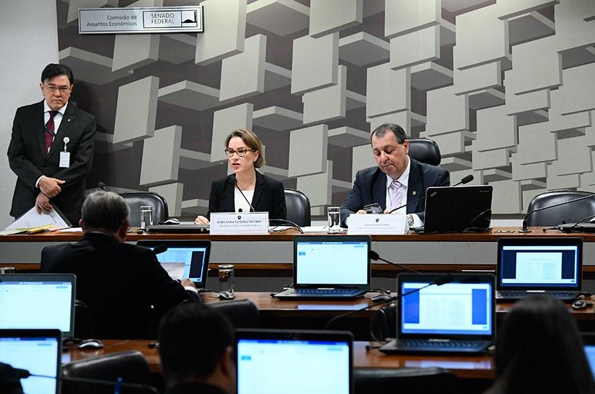 Ao lado do senador Omar Aziz, a economista Fernanda Nechio avaliou que reforma da Previdência, entrada do Brasil na OCDE e acordo entre Mercosul e União Europeia serão positivos para a economia