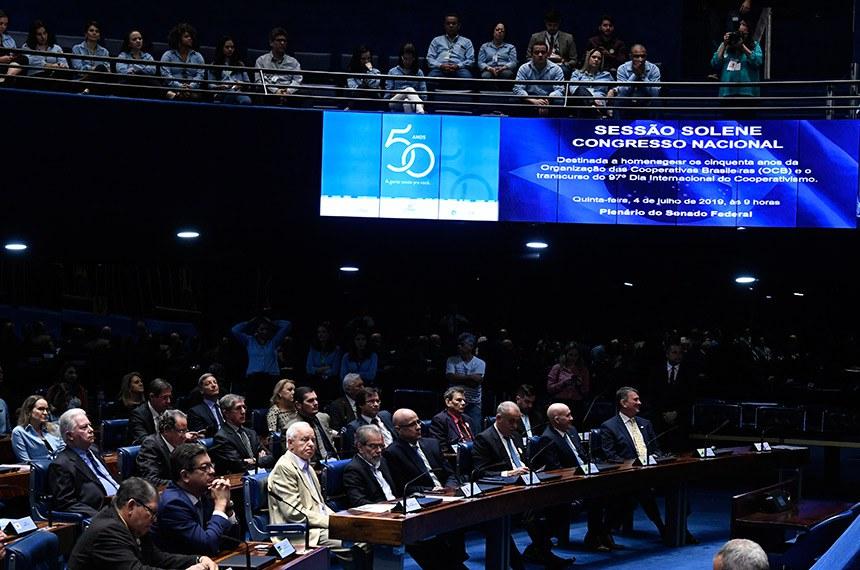 Plenário do Senado Federal durante sessão solene do Congresso Nacional destinada a homenagear os 50 anos da Organização das Cooperativas Brasileiras (OCB) e o transcurso do 97º Dia Internacional do Cooperativismo.   Foto: Edilson Rodrigues/Agência Senado