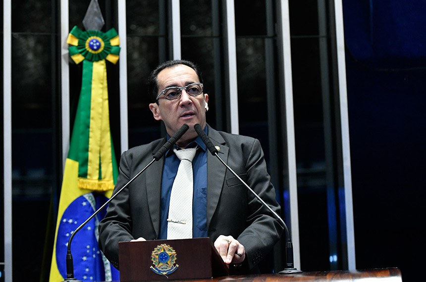 Plenário do Senado Federal durante sessão não deliberativa.   Em discurso, à tribuna, senador Jorge Kajuru (PSB-GO).  Foto: Geraldo Magela/Agência Senado