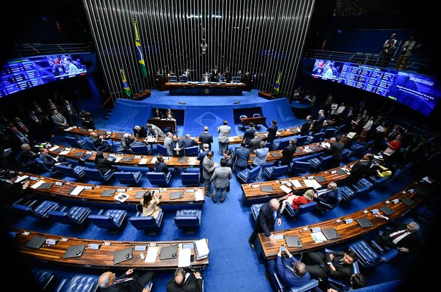 Plenário do Senado Federal durante sessão deliberativa ordinária. Ordem do dia.  Mesa: presidente do Senado, senador Davi Alcolumbre (DEM-AP); senador Eduardo Gomes (MDB-TO).  Foto: Marcos Oliveira/Agência Senado