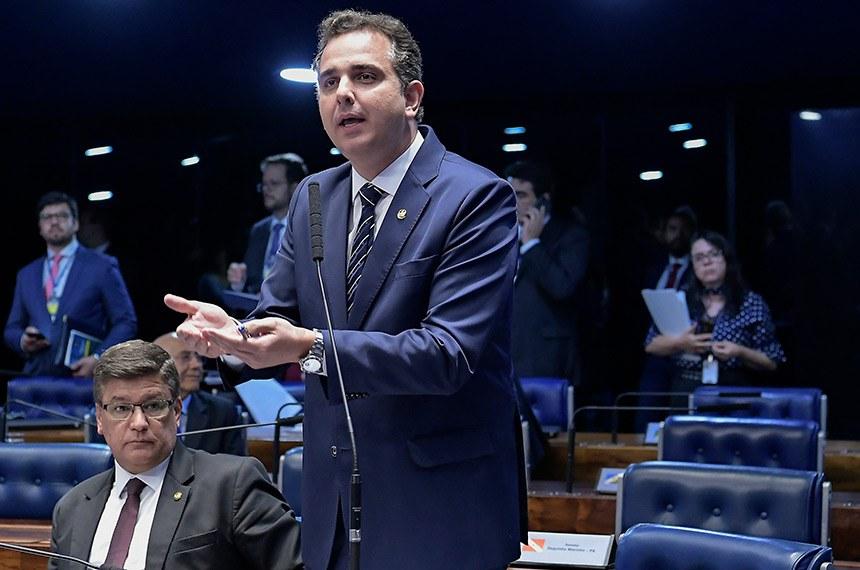 Plenário do Senado Federal durante sessão deliberativa ordinária.   Em pronunciamento, senador Rodrigo Pacheco (DEM-MG).  Foto: Waldemir Barreto/Agência Senado