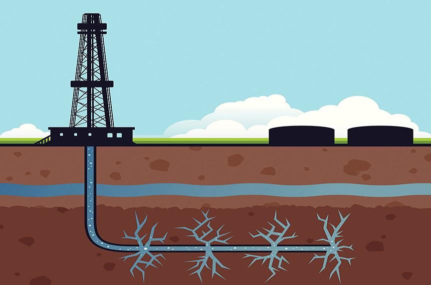 Ilustração da técnica de perfuração hidráulica conheida como fracking, utilizada na exploração de xisto.