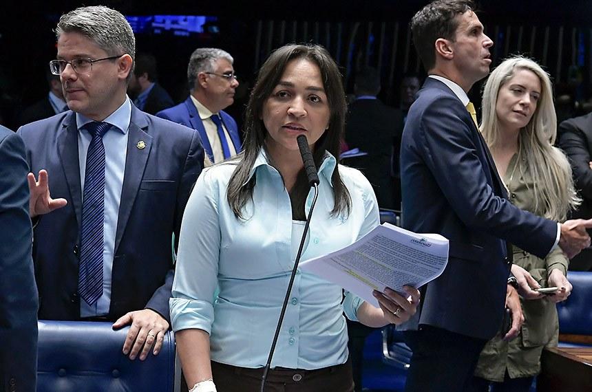 Plenário do Senado Federal durante sessão deliberativa ordinária.   Em pronunciamento, à bancada, senadora Eliziane Gama (Cidadania-MA).  Foto: Waldemir Barreto/Agência Senado
