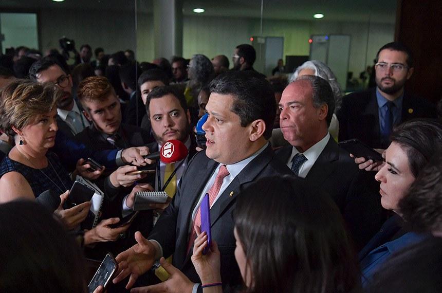Presidente do Senado Federal, senador Davi Alcolumbre (DEM-AP), concede entrevista.   Foto: Marcos Brandão/Senado Federal