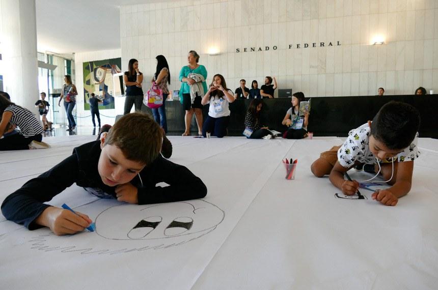 Senado Federal promove visita ao Congresso Nacional com atividades lúdicas em comemoração ao Dia das Crianças.  Foto: Roque de Sá/Agência Senado