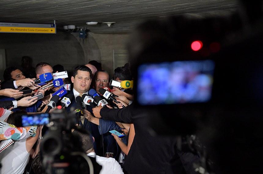 Presidente do Senado Federal, senador Davi Alcolumbre (DEM-AP) concede entrevista.  Foto: Marcos Brandão/Senado Federal
