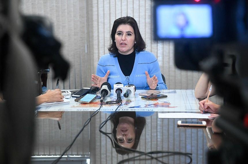 Senadora Simone Tebet (MDB-MS) concede entrevista.  Foto: Jane de Araújo/Agência Senado