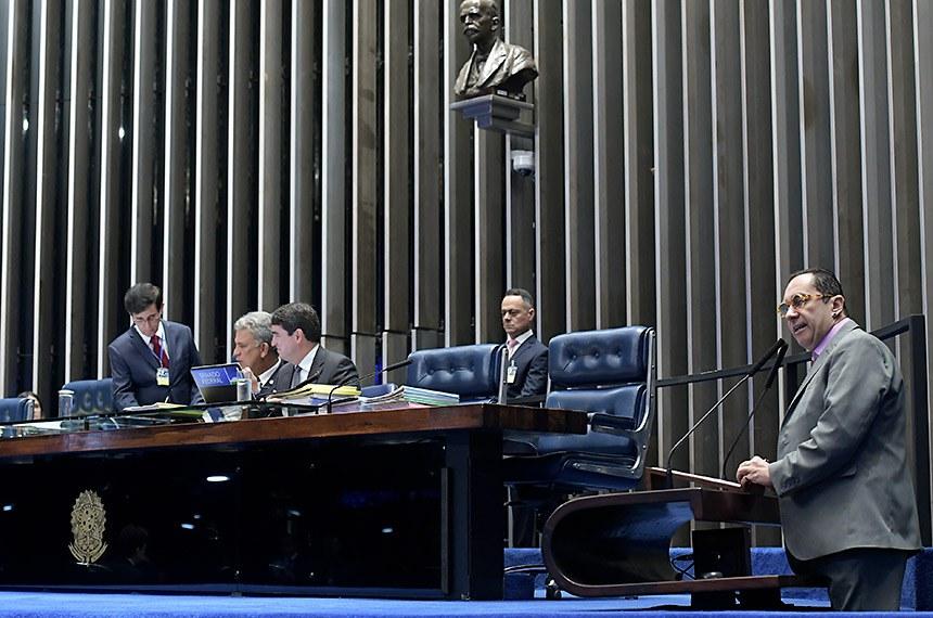 Plenário do Senado Federal durante sessão deliberativa ordinária.   Senador Sérgio Petecão (PSD-AC) à mesa conduz sessão.   Em pronunciamento, à tribuna, senador Jorge Kajuru (Patriota-GO).  Foto: Waldemir Barreto/Agência Senado