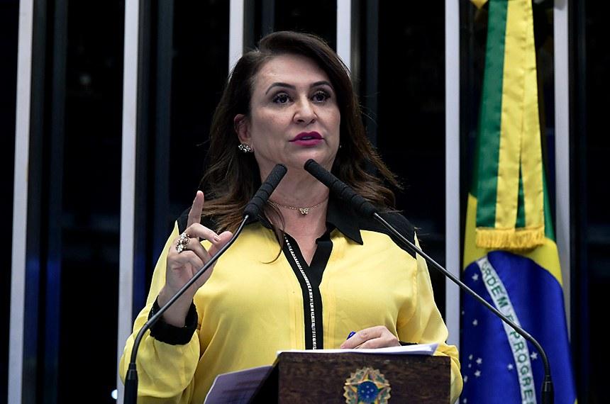 Plenário do Senado Federal durante sessão deliberativa ordinária.   Em discurso, à tribuna, senadora Kátia Abreu (PDT-TO).  Foto: Waldemir Barreto/Agência Senado
