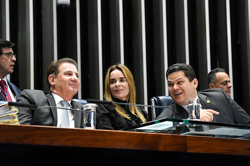 Plenário do Senado Federal durante sessão deliberativa ordinária.   Mesa:  senador Vanderlan Cardoso (PP-GO);  senadora Daniella Ribeiro (PP-PB);  presidente do Senado Federal, senador Davi Alcolumbre (DEM-AP).  Foto: Roque de Sá/Agência Senado