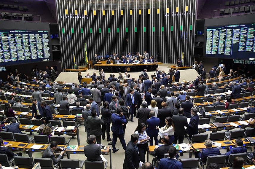 Plenário da Câmara dos Deputados durante sessão conjunta do Congresso Nacional destinada à deliberação de 14 vetos (15 a 28/2019); do PLN 5/2019 (LDO 2020) e PLN 18/2019 (Crédito suplementar); do PRN 3/2019 (mudança na tramitação de MPs); e dos PLNS 6, 7 e 8/2019.  À mesa, presidente do Senado, senador Davi Alcolumbre (DEM-AP), conduz sessão.  Foto: Marcos Brandão/Senado Federal