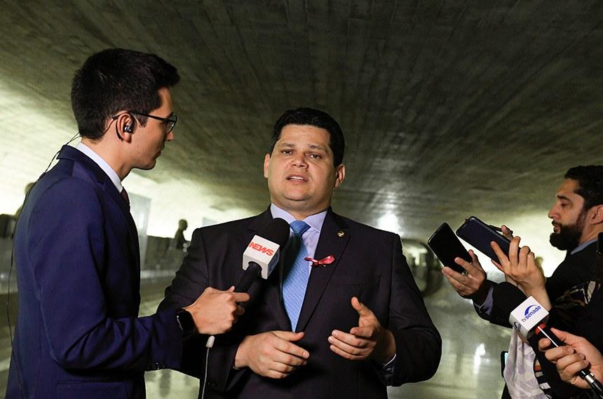 Presidente do Senado Federal, senador Davi Alcolumbre (DEM-AP), concede entrevista.  Foto: Roque de Sá/Agência Senado