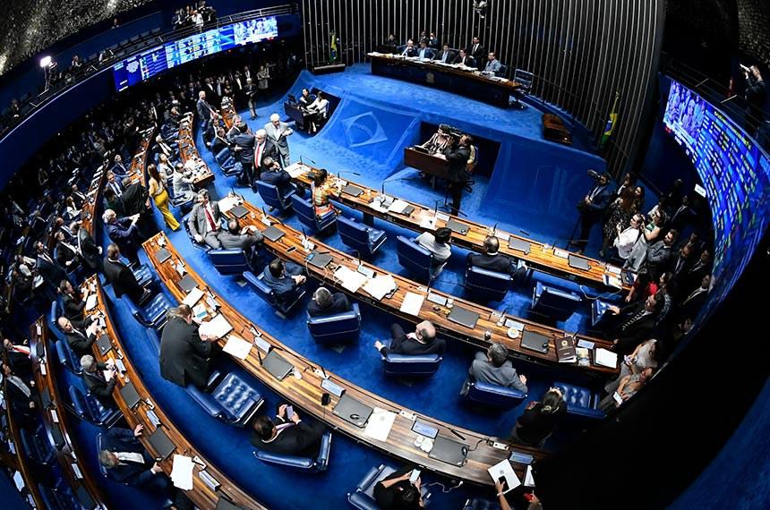 Plenário do Senado Federal durante sessão deliberativa ordinária. Ordem do dia. Plenário vota, em 1° turno, a reforma da Previdência (PEC 6/2019). À mesa, presidente do Senado Federal, senador Davi Alcolumbre (DEM-AP), conduz sessão. Foto: Marcos Oliveira/Agência Senado