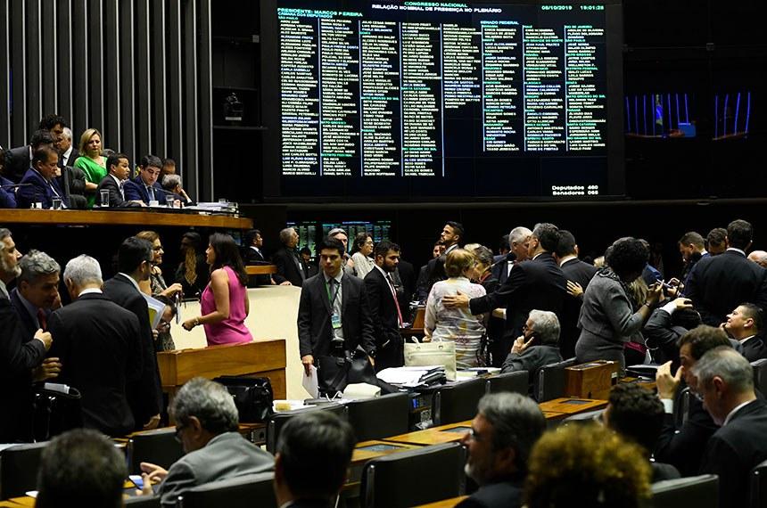 Plenário da Câmara dos Deputados durante sessão conjunta do Congresso Nacional destinada à apreciação de vetos ao projeto que muda as regras eleitorais, além do PLN 5/2019, que trata da Lei de Diretrizes Orçamentárias (LDO) para 2020 e projetos de abertura de crédito.   Foto: Marcos Oliveira/Agência Senado