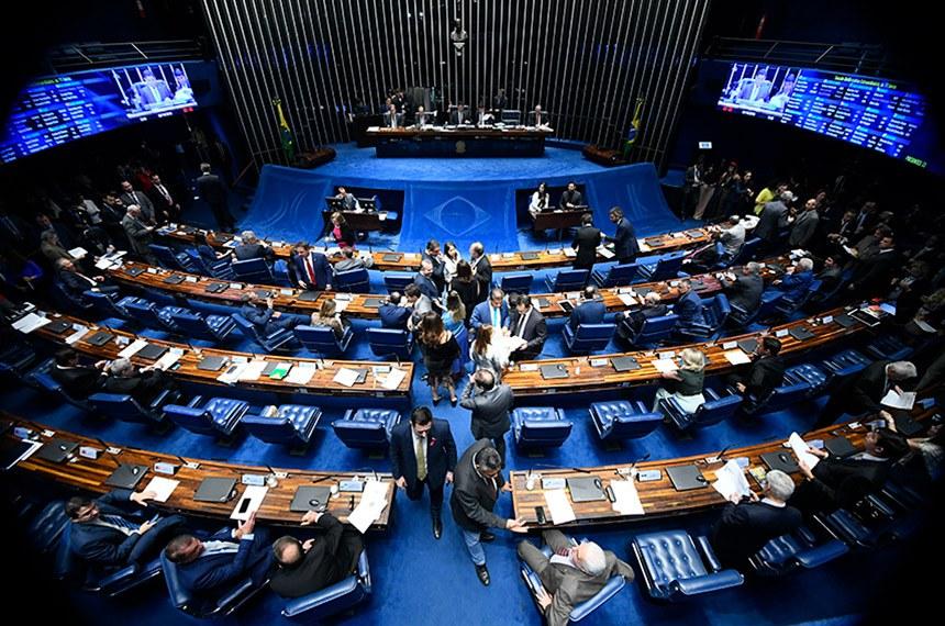 Plenário do Senado Federal durante sessão deliberativa extraordinária. Ordem do dia.  Votação dos destaques para a proposta de emenda à Constituição (PEC) 6/2019, da reforma da Previdência.  Mesa: senador Dário Berger (MDB-SC); senador Marcos Rogério (DEM-RO);  presidente do Senado Federal, senador Davi Alcolumbre (DEM-AP);  senador Izalci (PSDB-DF).   Foto: Marcos Oliveira/Agência Senado