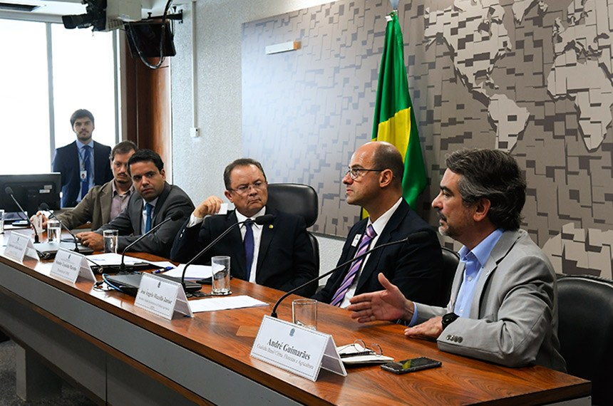 """Comissão Mista Permanente sobre Mudanças Climáticas (CMMC) realiza audiência pública interativa para tratar sobre o seguinte tema: """"Instrumentos fiscais e creditícios para uso sustentável, conservação e recuperação de floresta e agropecuária sustentável"""".   Mesa: coautor do estudo """"Investimentos de Impacto na Amazônia"""", da Sitawi Finanças Sustentáveis, Leonardo Letelier; relator da CMMC, deputado Edilázio Júnior (PSD-MA); presidente da CMMC, senador Zequinha Marinho (PSC-PA); secretário adjunto da Secretaria de Política Agrícola do Ministério da Agricultura, Pecuária e Abastecimento (SPA/Mapa), José Ângelo Mazzillo Junior; representante da Coalizão Brasil Clima, Florestas e Agricultura, André Guimarães.  Foto: Roque de Sá/Agência Senado"""