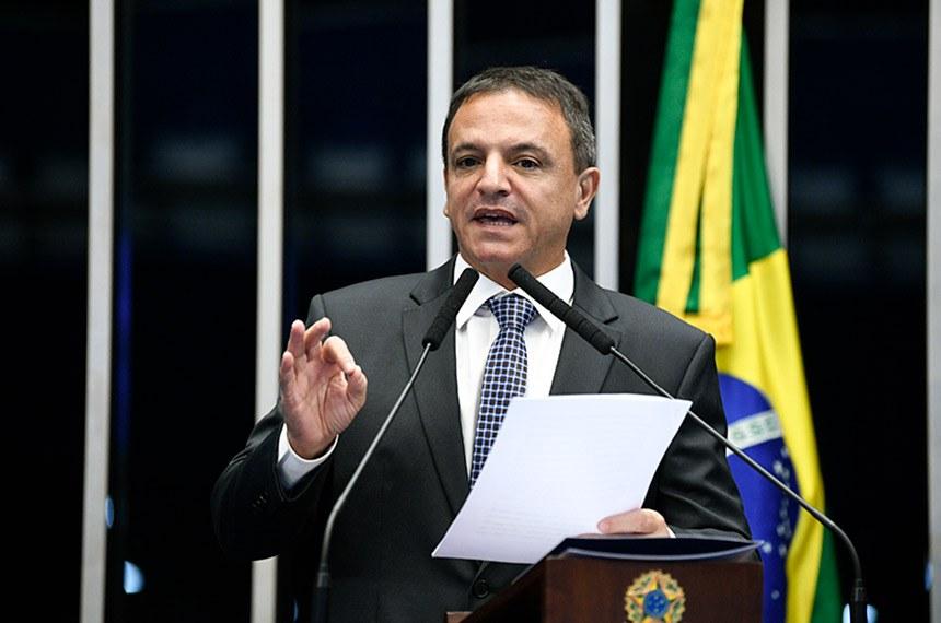Plenário do Senado Federal durante sessão não deliberativa.   Em discurso, à tribuna, senador Marcio Bittar (MDB-AC).  Foto: Pedro França/Agência Senado